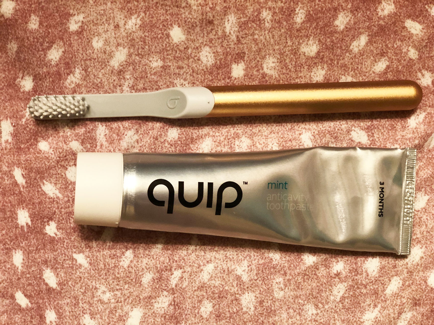 Quip toothbrush and toothpaste